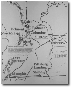 A map of the area involved in Forrest's Second West Tennessee raid.  (from Wyeth, source 8, below)