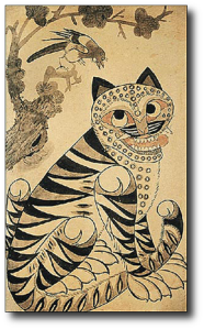A 14th century Korean folk drawing of the Amur tiger, which is central to the culture on the peninsula.  (Wikipedia)