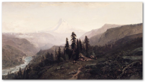 Mount Hood, painting by William Keith shared online by the Brooklyn Museum.
