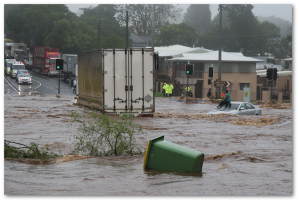 Flash flooding hits an Australian town in 2011.  (Image:  Timothy)