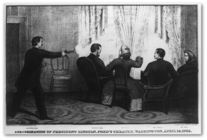 Per Kauffman, Mary Lincoln wasn't aware anything had happened until later.  When Booth jumped down to the stage, she thought her husband had fallen out of the box.  (Library of Congress, source not known)