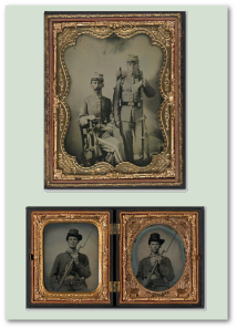 Four Civil War soldiers, two Confederates and two Federals.  (Library of Congress, Liljenquist Family Collection)