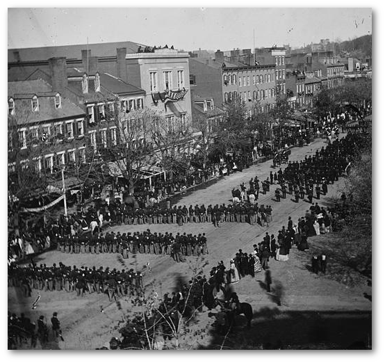 Lincoln's funeral procession on Pennsylvania Avenue.  (Library of Congress)