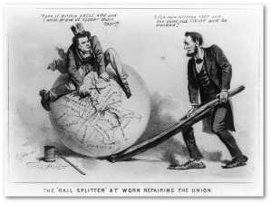 An 1864 presidential campaign cartoon, showing Lincoln and VP candidate Andrew Johnson healing the Union.  (Library of Congress)