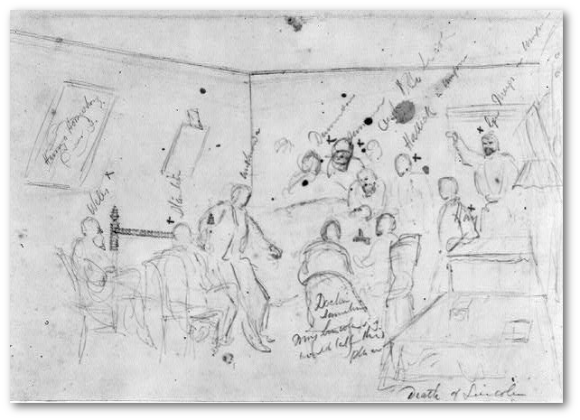 Alfred Waud sketched Lincoln's deathbed.  Per the Library of Congress, inscribed above image, from left to right: Henrys [Horseshow] (picture); Wells; Stanton; Unknown; Dennison; Sumner; Capt [Robert] Lincoln; Halleck in uniform; Gen Meigs in uniform. Inscribed on figure in image: Hay. Inscribed Doctor Summoned; Mrs. Lincoln would take this place.