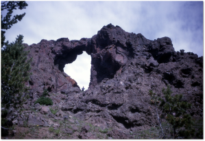 The Needle in Yellowstone with an unidentified man.  (National Park Service)