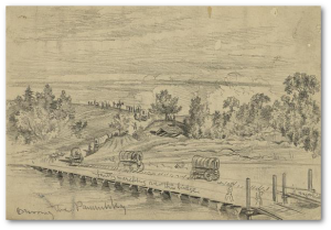 The Army of the Potomac crossing the Pamunkey, on the march to Cold Harbor.  (Edwin Forbes, Library of Congress)