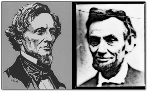 At this point, 150 years ago, America still had two presidents.  It was not a good fit.  (Library of Congress, both images)