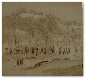 Battle, presumably near Marietta, Georgia.  J.F.E. Hillen.  (Library of Congress)