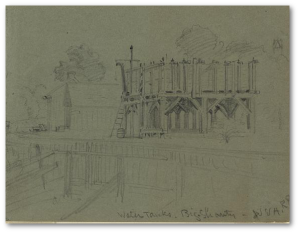 """Water tanks. Big Shanty. W & A.R.R.,"" A. R. Waud.  (Library of Congress)"