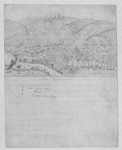 "US view of Atlanta from a valley on the Chattahoochee River.  Atlanta appears over distant hilltops. A wagon train and soldiers approach the city; sections of the sketch are numbered and labeled below the sketch. Sketch on upper half of paper; underneath is the title and labels for numbered elements of the sketch: ""No. 1. Atlanta City, Ga. 2. Rebel Wagon Train 3. Rebel Forts 4. Rebel Troops Marching.""  (Library of Congress)"