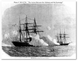 The USS Kearsarge and the CSS Alabama battle it out.