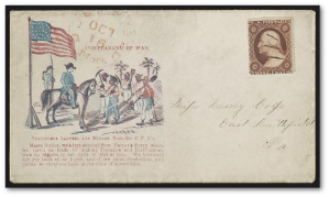 "Civil War envelope showing fugitive slaves working as sappers and miners with General Benjamin Butler, bearing message ""Contraband of war.""  (Library of Congress)"