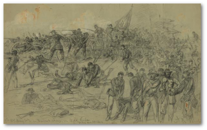 7th N.Y. Heavy Artillery near  Cold Harbor, Friday, June 3, 1864.  A. R. Waud (Library of Congress)
