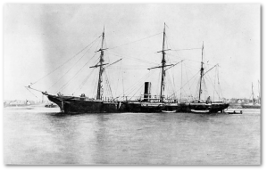 The USS Kearsarge in late 1864.  (Source)