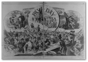 """Pay-day in the Army of the Potomac / drawn by Mr. Homer.""  Harper's Weekly.  (Library of Congress)"