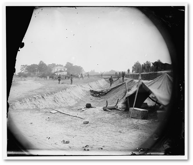 """Petersburg, Va. Redoubt near Dunn's house in outer line of Confederate fortifications captured June 14, 1864, by Gen. William F. Smith""  (Library of Congress)"