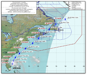 Forecast track from the Canadian Hurricane Centre.