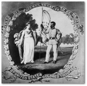 """Rather die freemen than live to be slaves"" - From the 3rd United States Colored Troops regimental flag.  (Library of Congress)"
