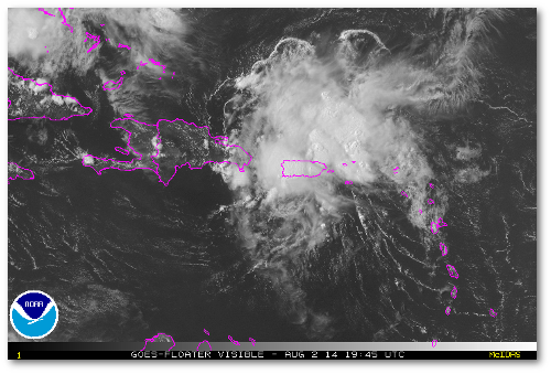 That's a terrible shape for a tropical cyclone of any intensity, but look at that convection!  Bertha still packs some muscle.  (Image: NOAA)