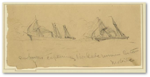 """Pocohontus [sic] capturing blockade runner Antonia. Mobile ""  A. R. Waud, no date.  (Library of Congress)"