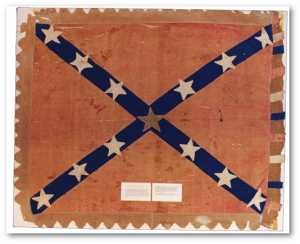 This flag, made by the women of Oxford, Mississippi, was captured on July 13, 1864, at Camargo Cross Roads by the Fourteenth Wisconsin Infantry Regiment. William Barr, of Oxford, was carrying the flag when it was captured.   (Source)