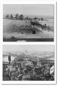 Top:  Fort Stevens in 1864 (Library of Congress). Bottom:  Re-creation of the parapet incident (source).  Seriously,  though I'm glad they did, how could Early's sharpshooters miss him?