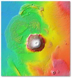 Colorized view of Olympus Mons and its aureole.  (NASA)