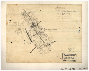 Sketch by Jedediah Hotchkiss of the battlefield at Rutherford's Farm.  (Library of Congress)