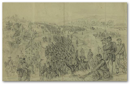Sheridans army following Early up the Valley of the Shenandoah.  A. R. Waud. (Library of Congress)