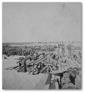 US ordnance stored on Morris Island later in the war.  (Library of Congress)