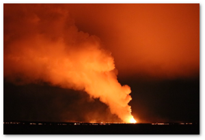 Also, the lava has crossed a nearby road.  (Image source, Photo from 25. September at 23:10. Morten S. Riishuus)