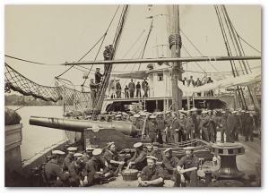 "The ""USS Mendota"" on the James River in August 1864.  (Library of Congress)"