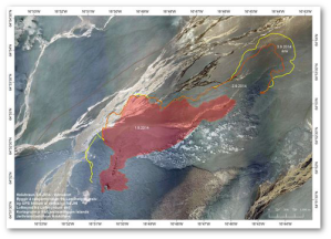 Draft map of lava flow as of September 3.  Iceland Meteorological Office/University of Iceland