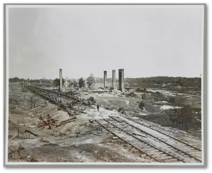 CS General Hood had ordered the destruction of ordnance before the city surrendered.  (Library of Congress)