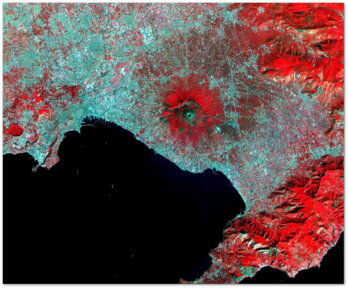Vegetation appears red on this ear-infrared imagery of Naples and Vesuvius.  (NASA)
