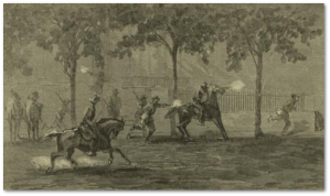 General Washburn escapes during Forrest's raid on Memphis.  (Source)