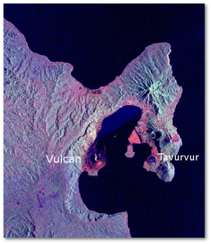 Space radar image of Rabaul after the eruption.  Ash deposits appear red-orange on the image, and are most prominent on the south flanks of Vulcan and north and northwest of Tavurvur (i.e., the southeast section of the town of Rabaul).