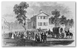 Frank Leslie's illustration of citizens getting passes to leave Atlanta during the evacuation.  (Library of Congress)