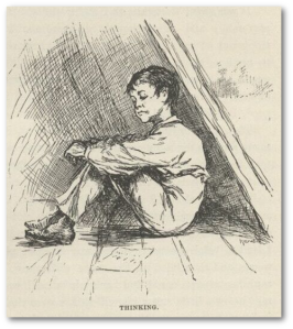 Huck Finn was never this clean or adorable, even when the widow had him.  (Source)