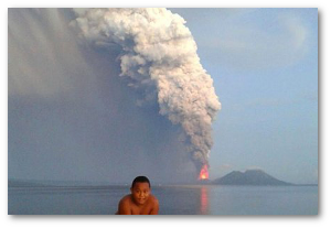 Of course they photobomb volcanic eruptions at Rabaul.