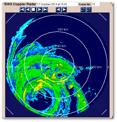 Hurricane Gonzalo's eye on the Bermuda weather radar loop currently.  BMS