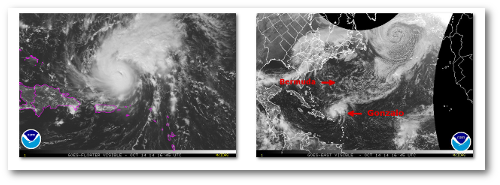 Gonzalo:  Current visible satellite view (left) and North Atlantic visible satellite view (right)