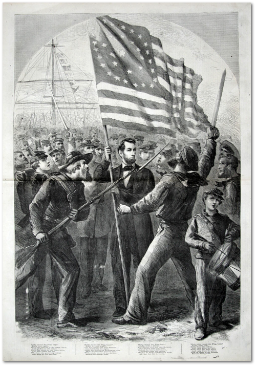 "Accompanying this illustration in ""Harper's Weekly,"" October 1864 were the Union lyrics to George Frederick Root's ""Rally Around the Flag."""