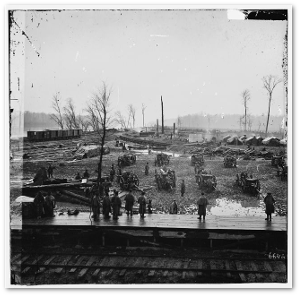 Members of the 2nd US Colored Light Artillery at the Johnsonville Depot, one month after Forrest's attack.  (Library of Congress)