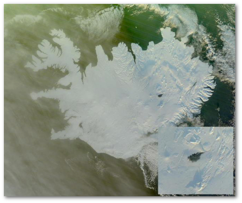 The island of Iceland, with black spot marking the Bardarbunga lava field.  (NASA by way of Erik Klemetti)