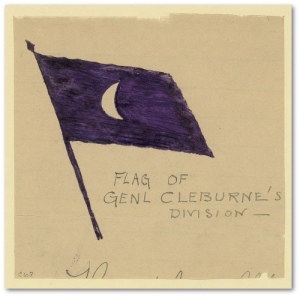 A. R. Waud drew this image of General Cleburne's flag some time between 1862 and 1864.  (Library of Congress)