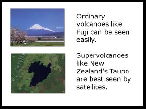 Image of Mount Fuji by Swolib.  Taupo image by NASA