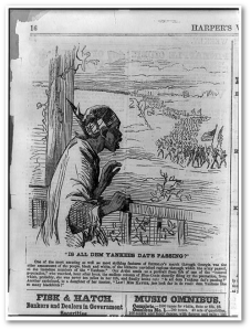 "I'm not sure why the ""Harper's Weekly"" cartoonist drew this African American with Native American garb.  (Library of Congress)"