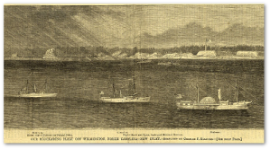 """Harper's Weekly"" ran this illustration of the blockade at Wilmington, NC, on December 3, 1864."